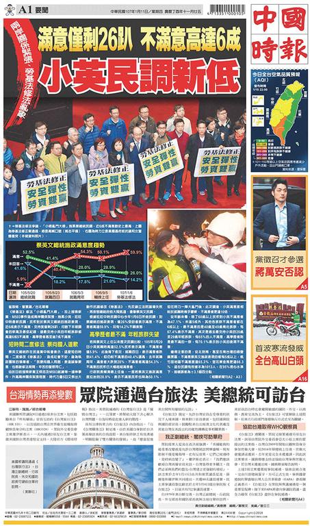 中國時報 2018年1月11日