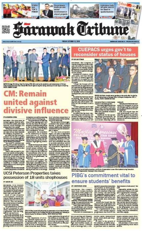 Sarawak Tribune 12 Oktober 2018