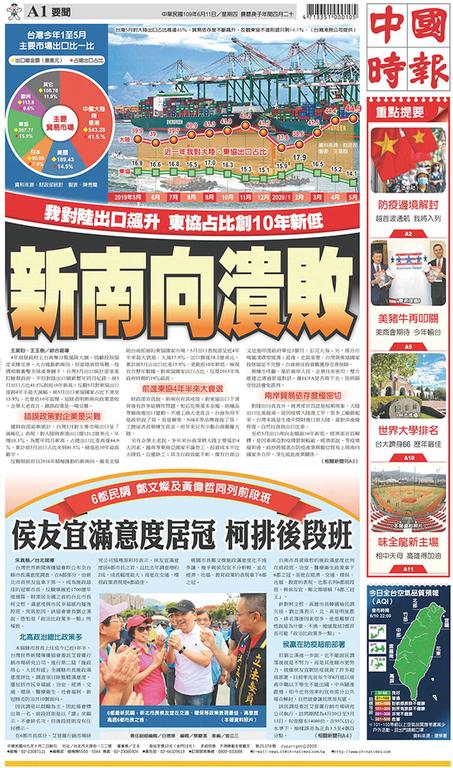 中國時報 2020年6月11日