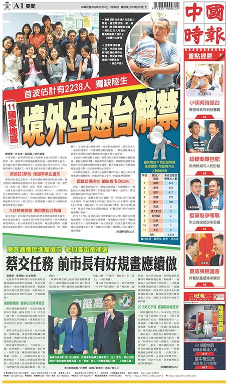 中國時報 2020年6月18日